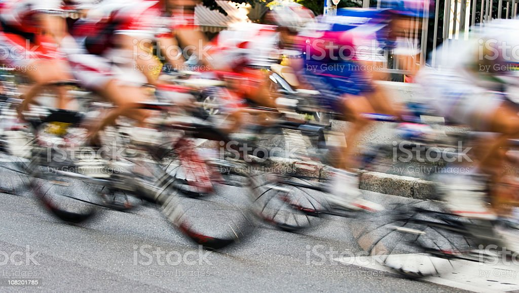 Motion Blur of Bicycle Race Riders. Color Image stock photo