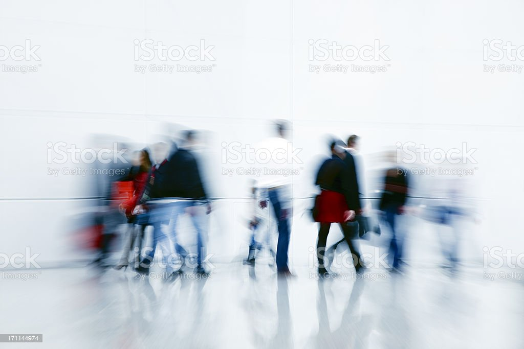 Motion Blur of Commuters and Shoppers royalty-free stock photo