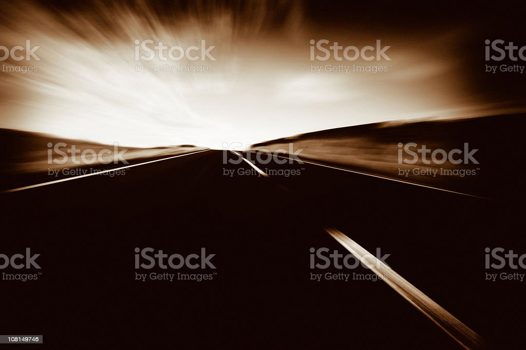 Motion Blur of Country Highway, Sepia Toned royalty-free stock photo