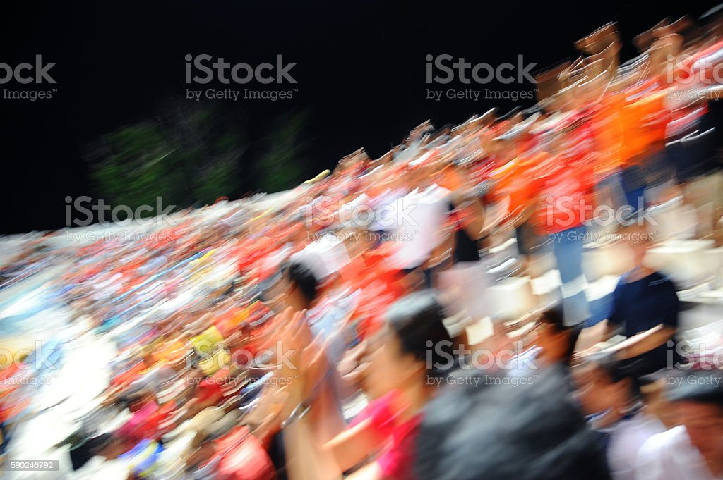 motion blur of fans soccer stock photo