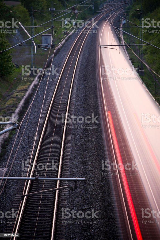 Motion Blur of High Speed Train on Railway Tracks royalty-free stock photo