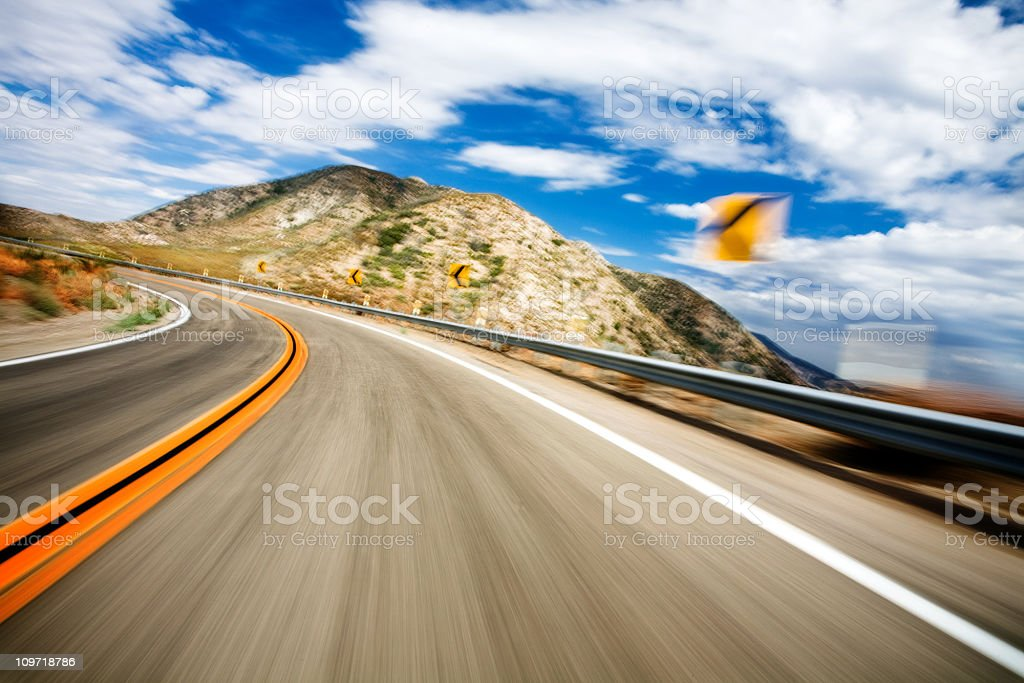 Motion Blur of Highway around Turn royalty-free stock photo