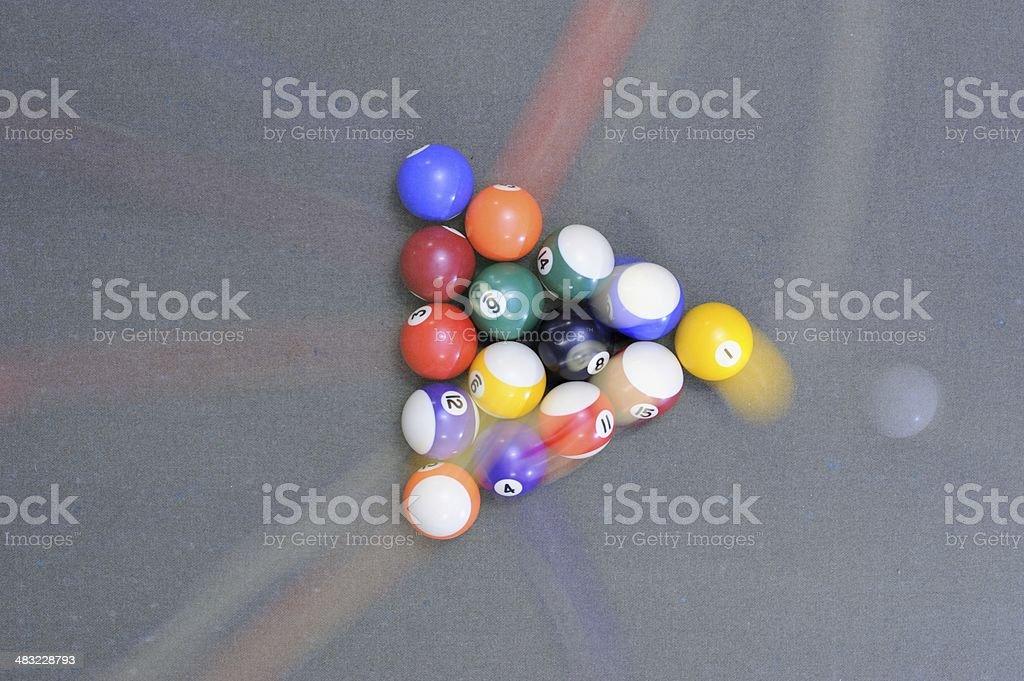 Motion blur of pool table break stock photo