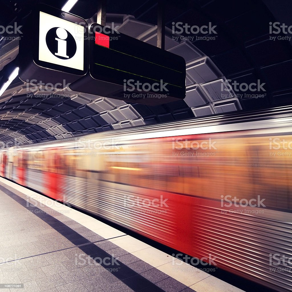 Motion Blur of Subway Train at Platform stock photo