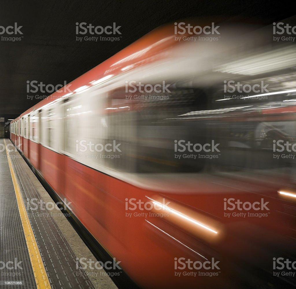 Motion Blur of Subway Train at Underground Station royalty-free stock photo
