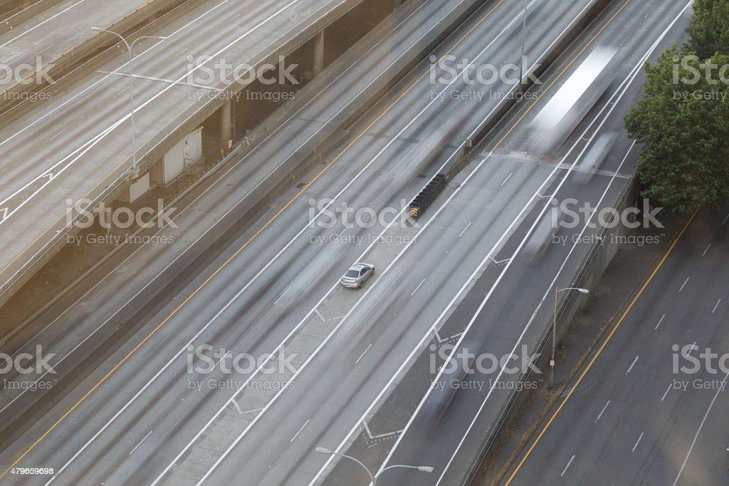Motion Blur on Freeway stock photo