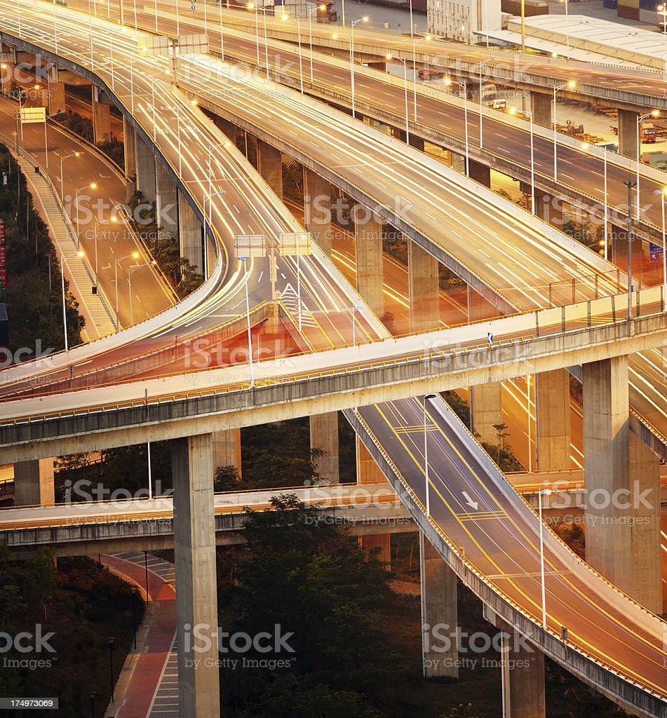 Motion blur on highway stock photo