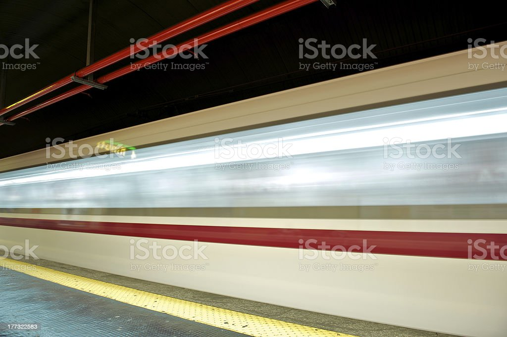 motion blur outdoor of high speed train in subway royalty-free stock photo