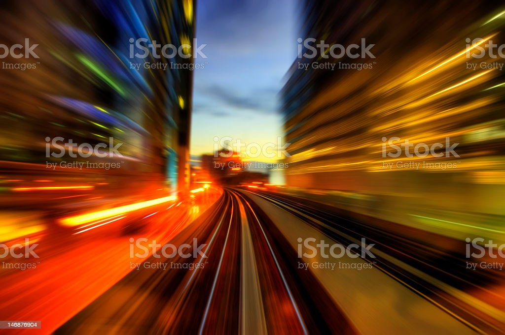 Motion blur picture of traffic in the city royalty-free stock photo