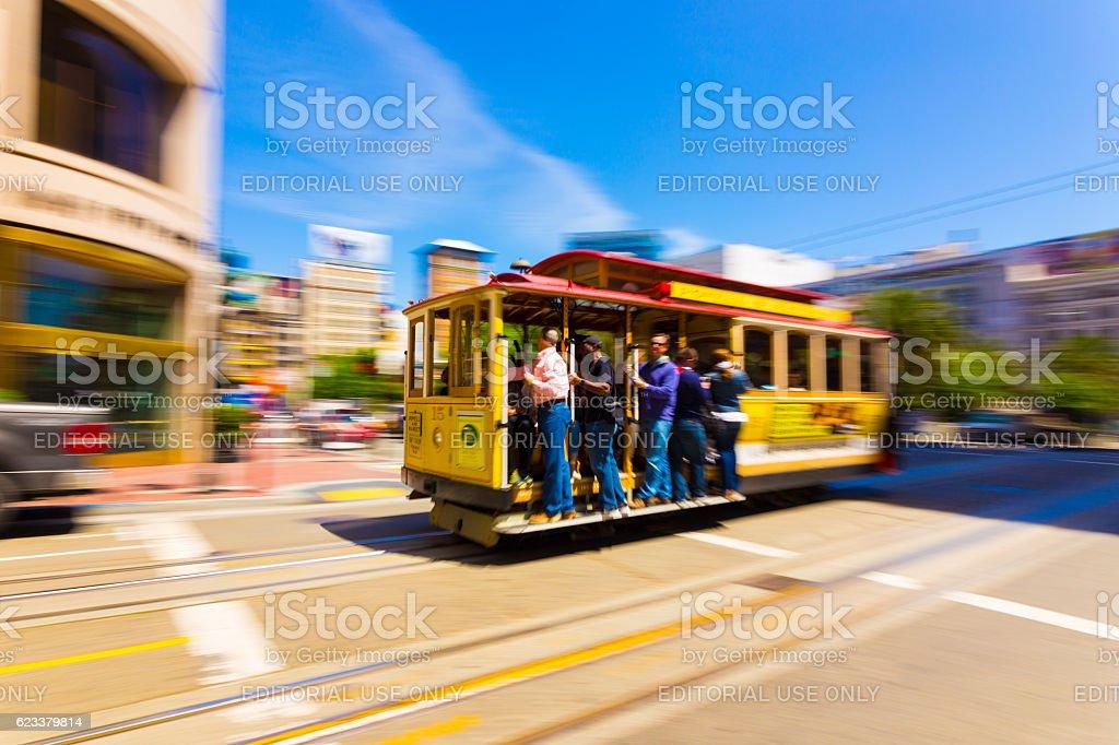 Motion Blur San Francisco Cable Car Union Square stock photo