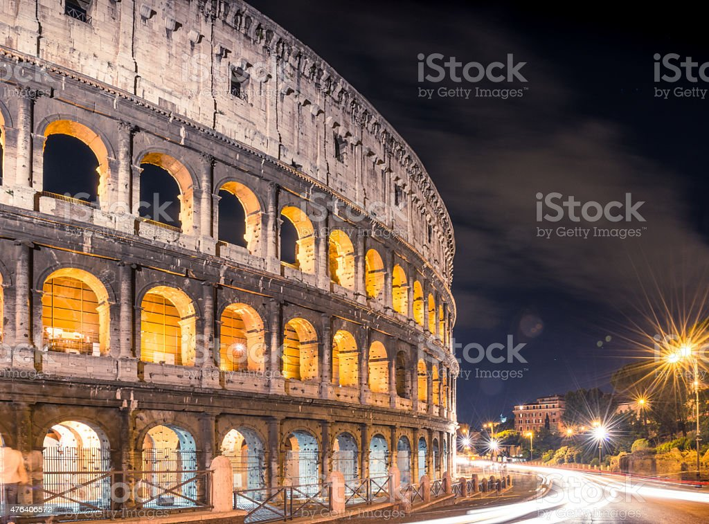 Motion blur traffic at Coliseum in Rome stock photo