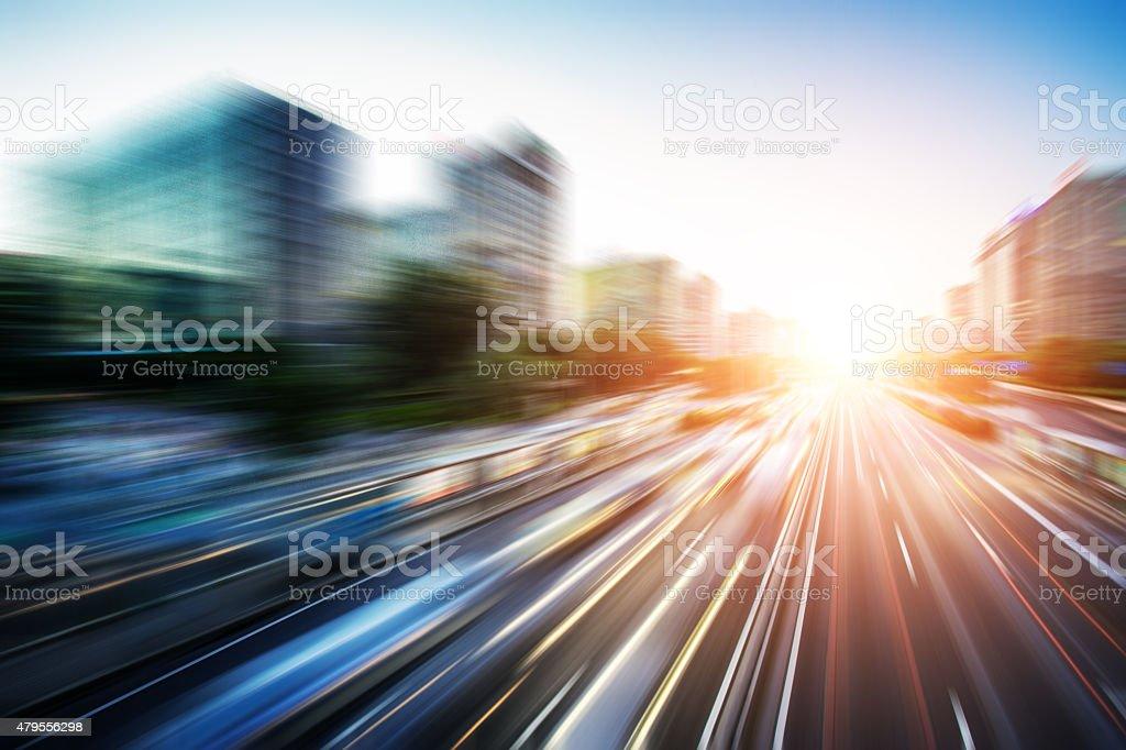 Motion blur traffic stock photo