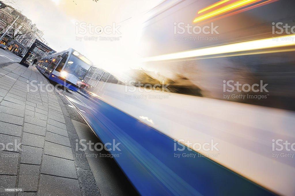 Motion blurred Amsterdam tram royalty-free stock photo