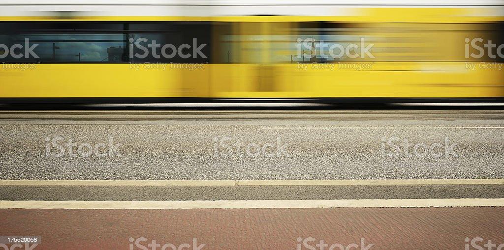 Motion blurred Berlin tram royalty-free stock photo