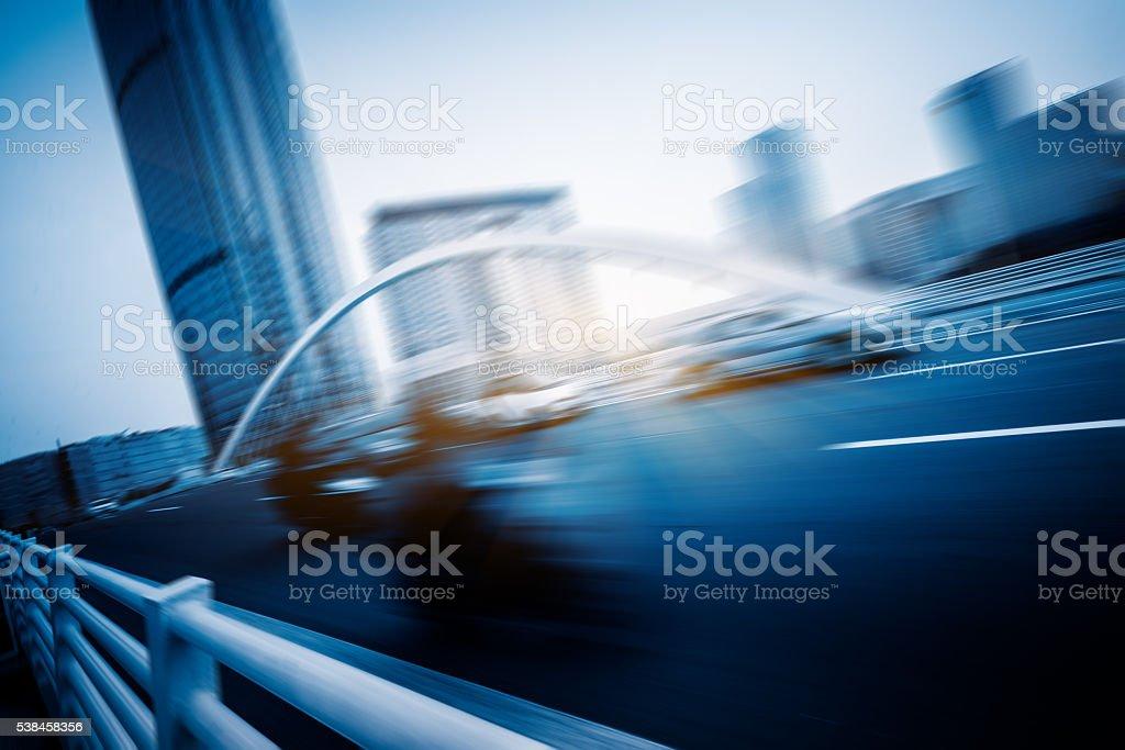 motion blurred car at bridge,tianjin city stock photo