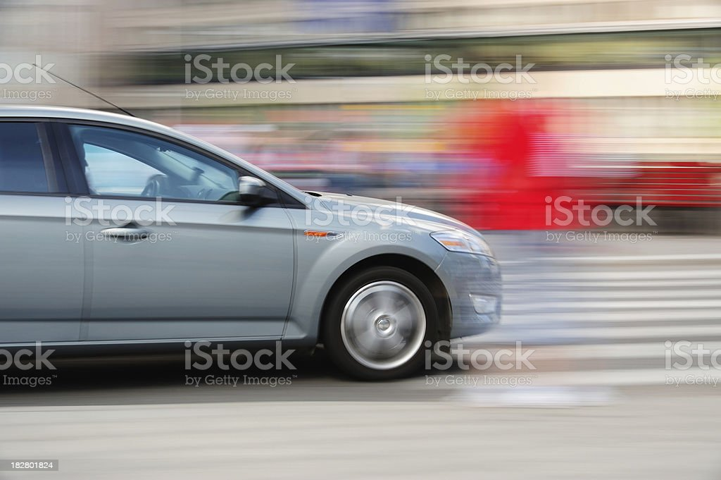 Motion blurred car in traffic stock photo