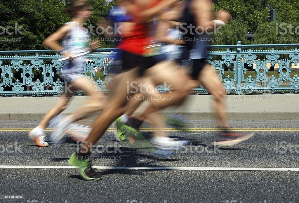 Motion Blurred Marathon Runners royalty-free stock photo