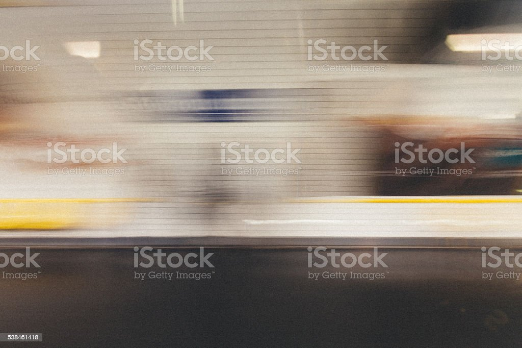 Motion blurred metro train stock photo