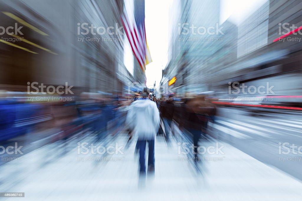 Motion Blurred Pedestrians Walking in New York stock photo
