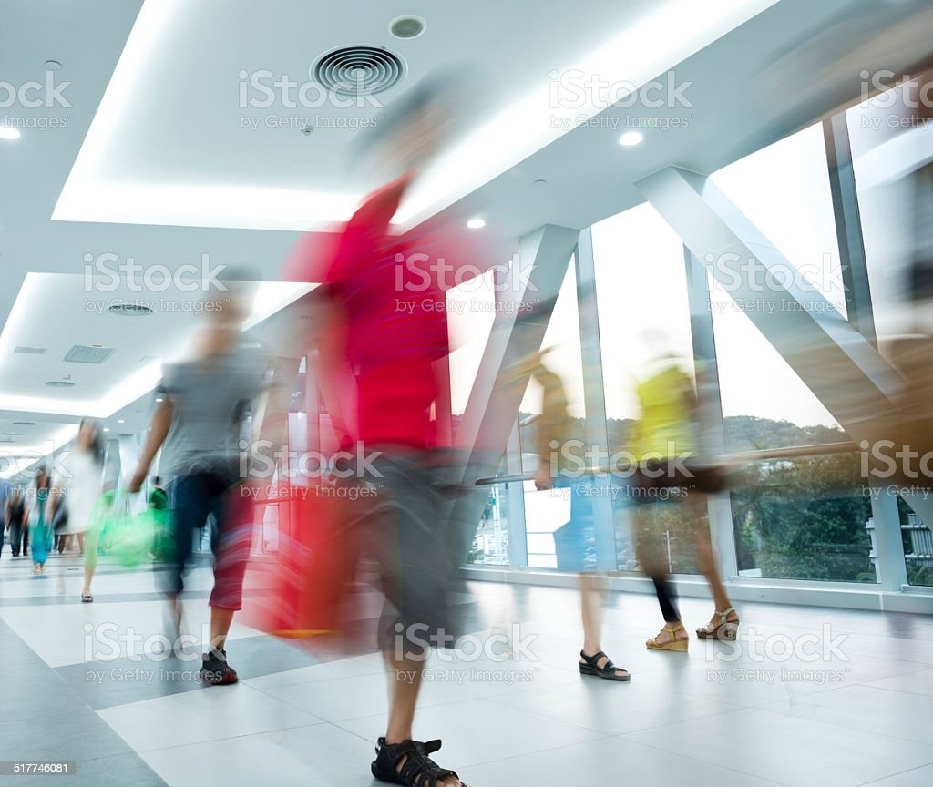 motion blurred people stock photo