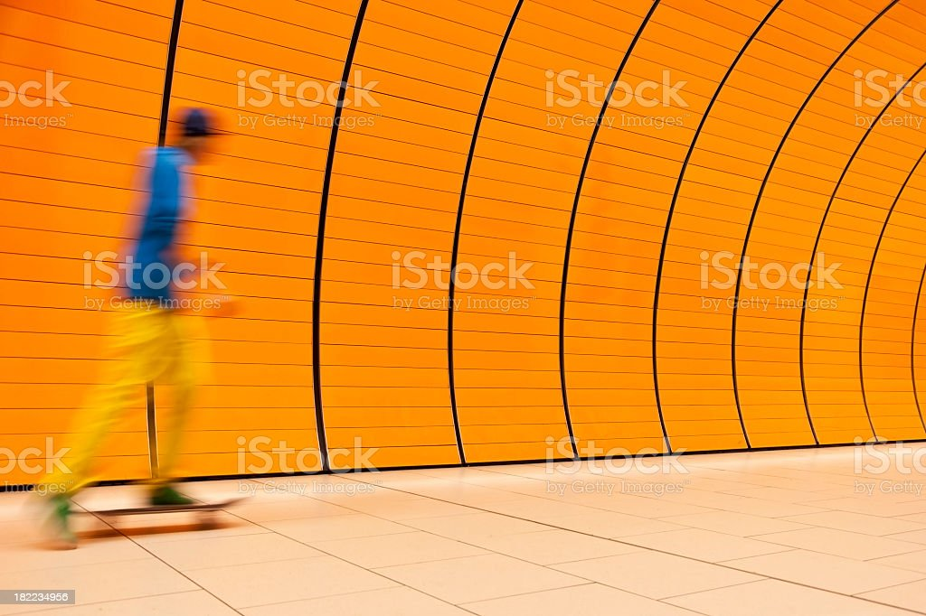 Motion Blurred Skateboarder stock photo