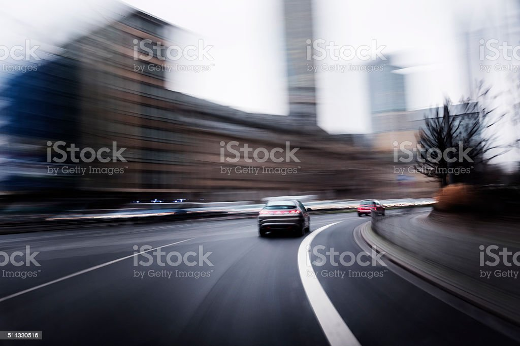 Motion blurred street drive stock photo