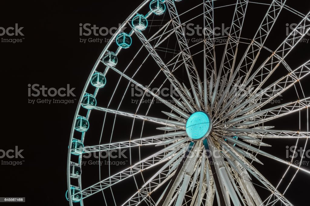 Motion Burred, Wheel Of Liverpool At Night stock photo