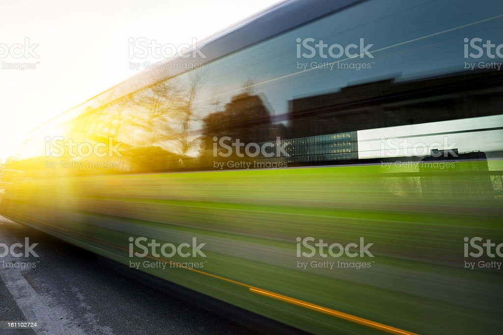 motion bus go through city royalty-free stock photo