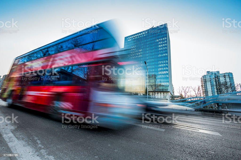 motion bus go through city royalty-free stock photo