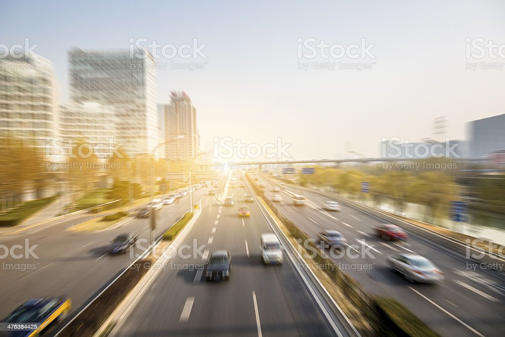 motion cars go through city royalty-free stock photo