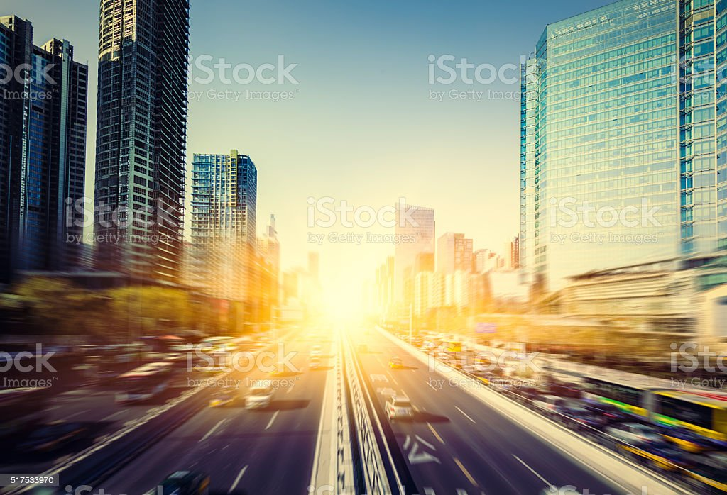 motion cars go through city stock photo