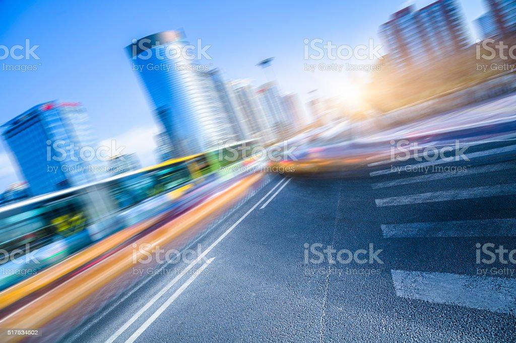 motion cars go through city stock photo