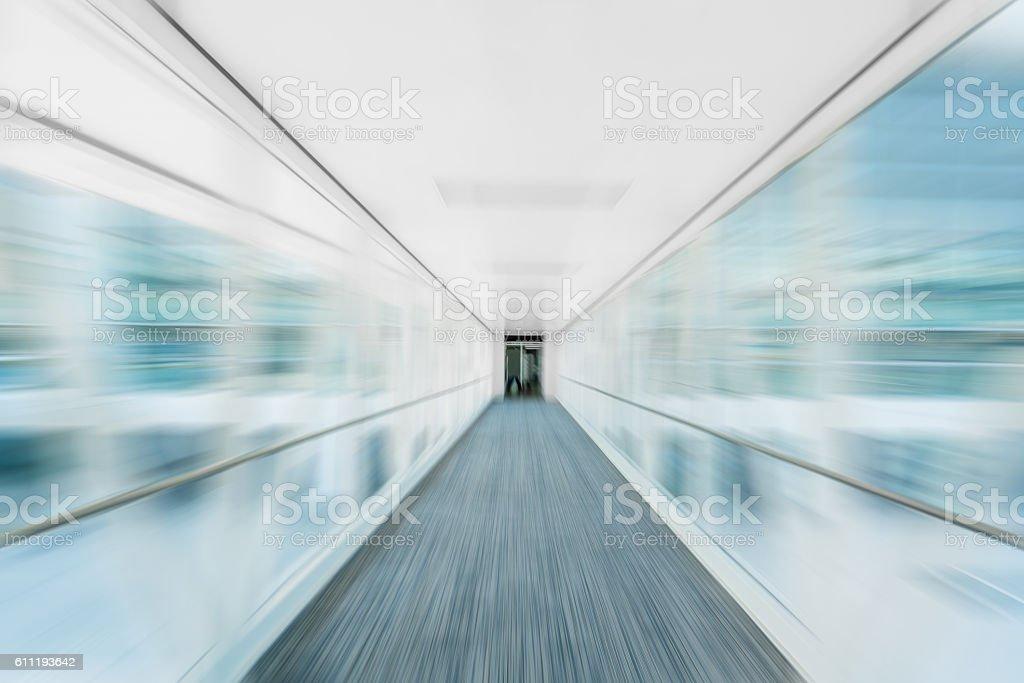 Motion moving walkway stock photo