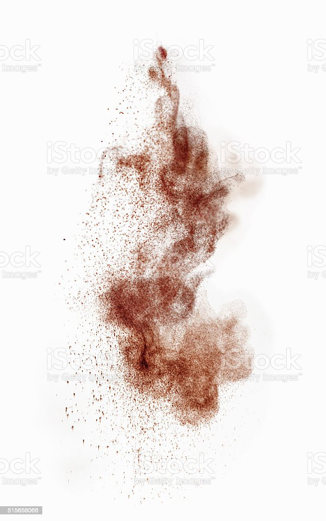 motion of cocoa or coffee powder stock photo
