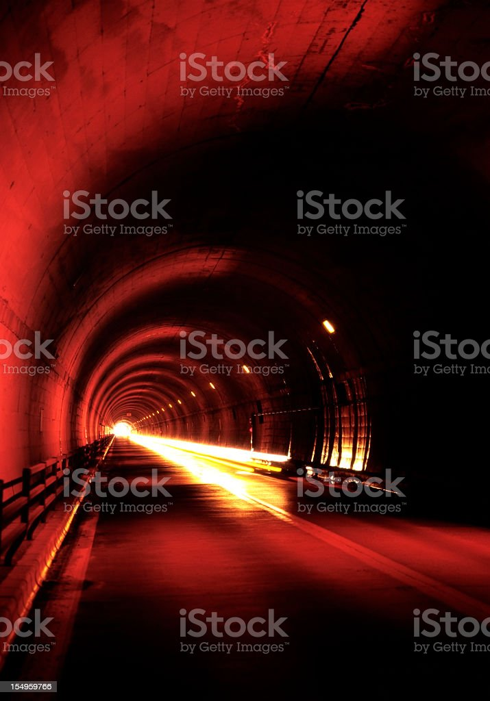 Motion of Headlight in deep tunnel royalty-free stock photo