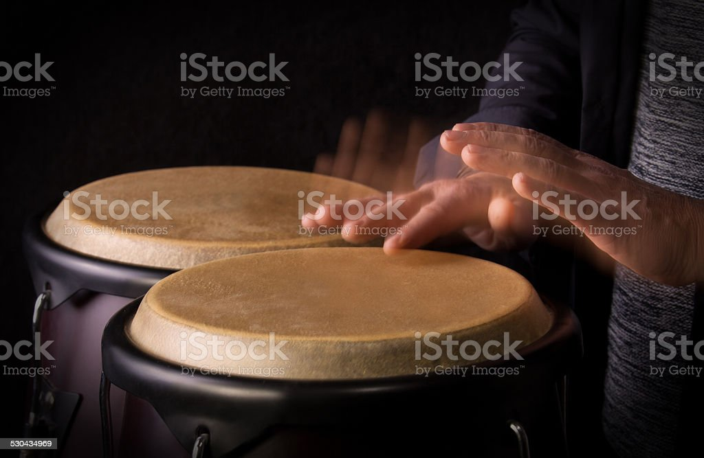 Motion Picture of a bongo Player stock photo