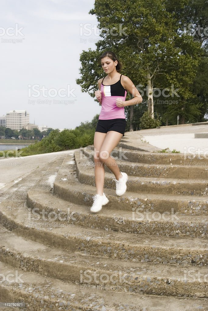 Motion - Running the stairs stock photo