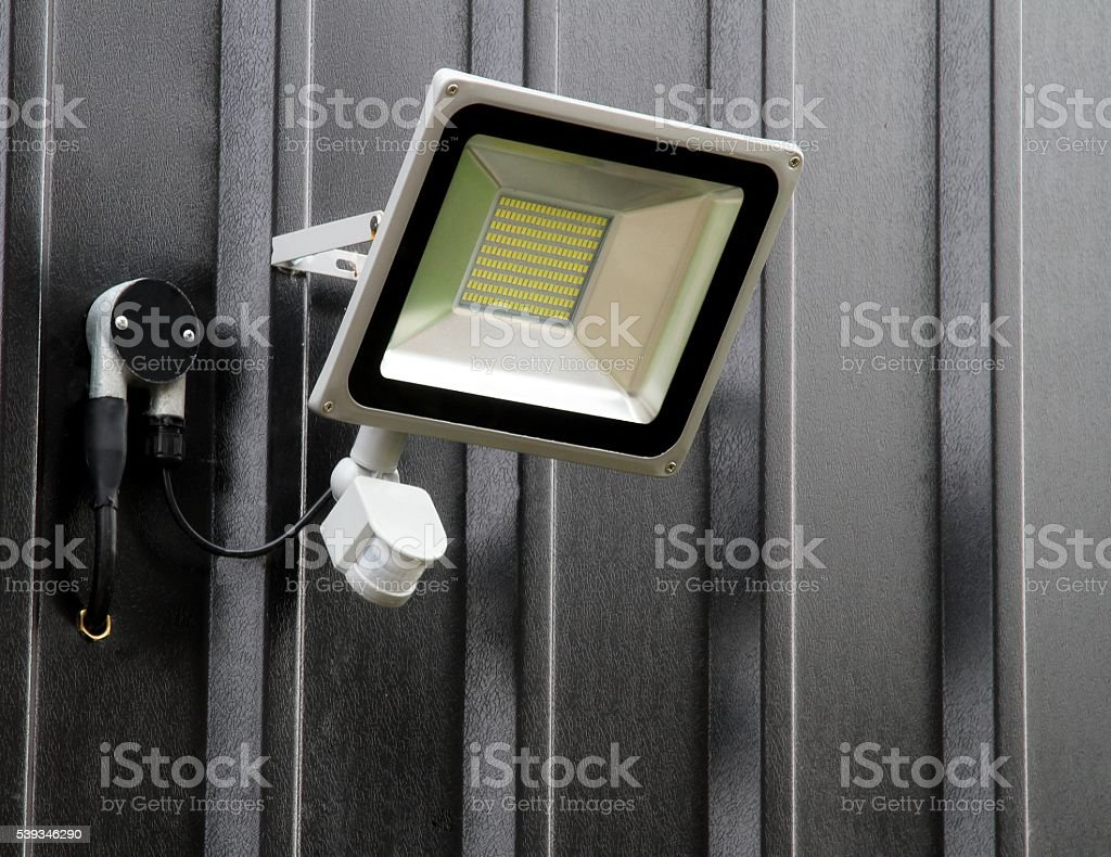 Motion sensor security light stock photo