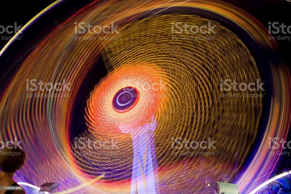 Motion Trail of Ferris Wheel at Night royalty-free stock photo