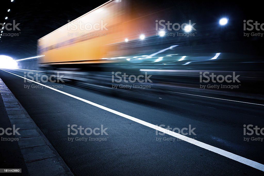 motion truck go through the tunnel stock photo
