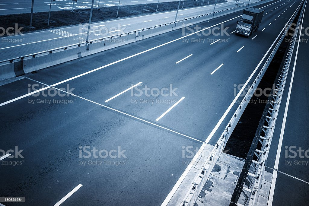 motion trucks on the freeway royalty-free stock photo
