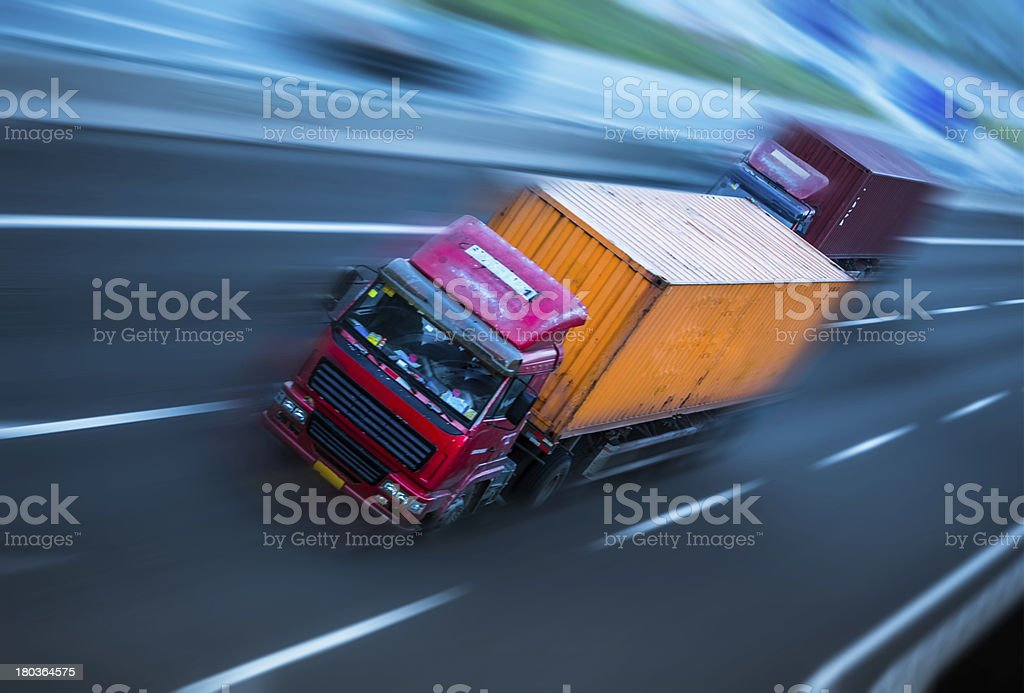 motion trucks on the freeway royalty-free stock photo