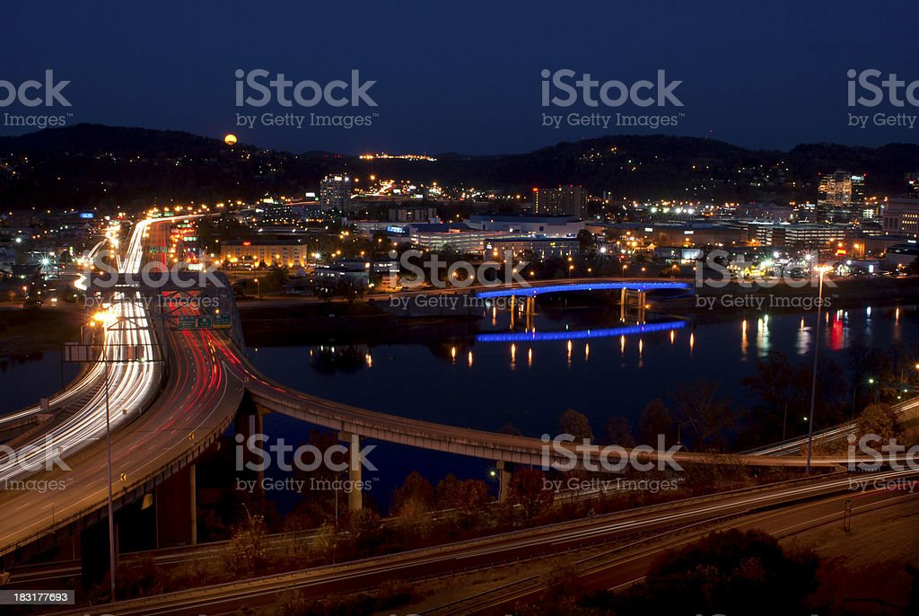 Motion-blurred cars on roads of Charleston, West Virginia stock photo