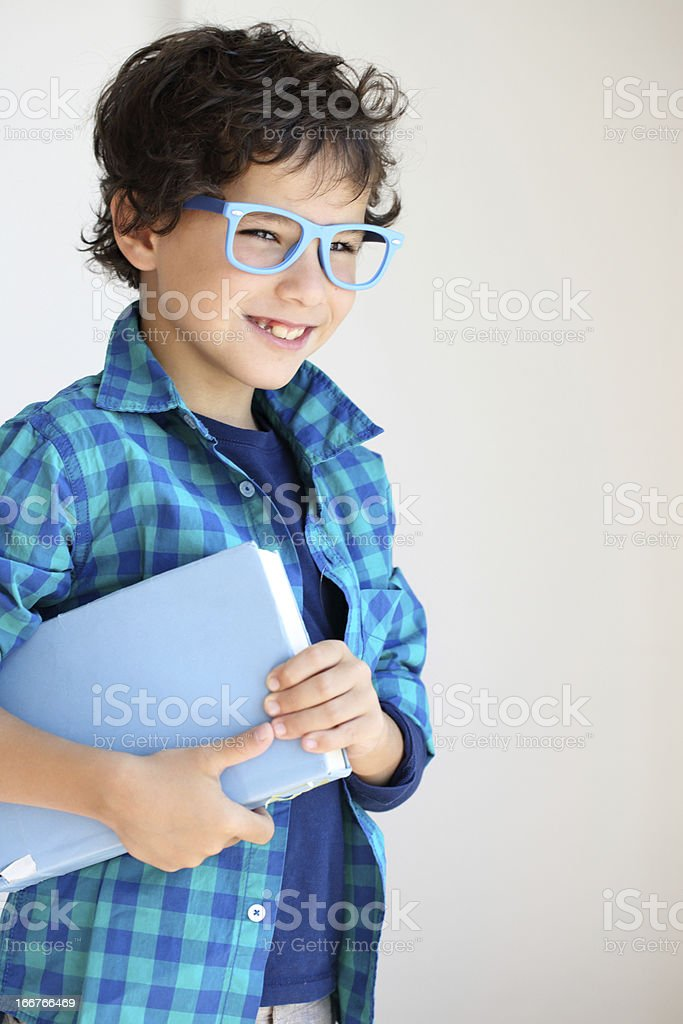 Motivated student with textbook royalty-free stock photo