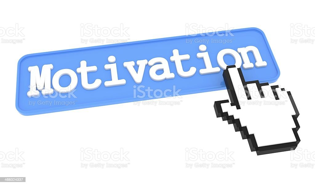 Motivation Button with Hand Cursor. stock photo