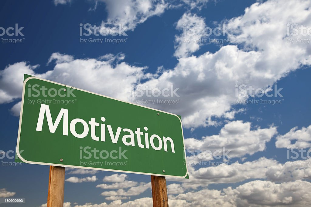 Motivation Green Road Sign stock photo