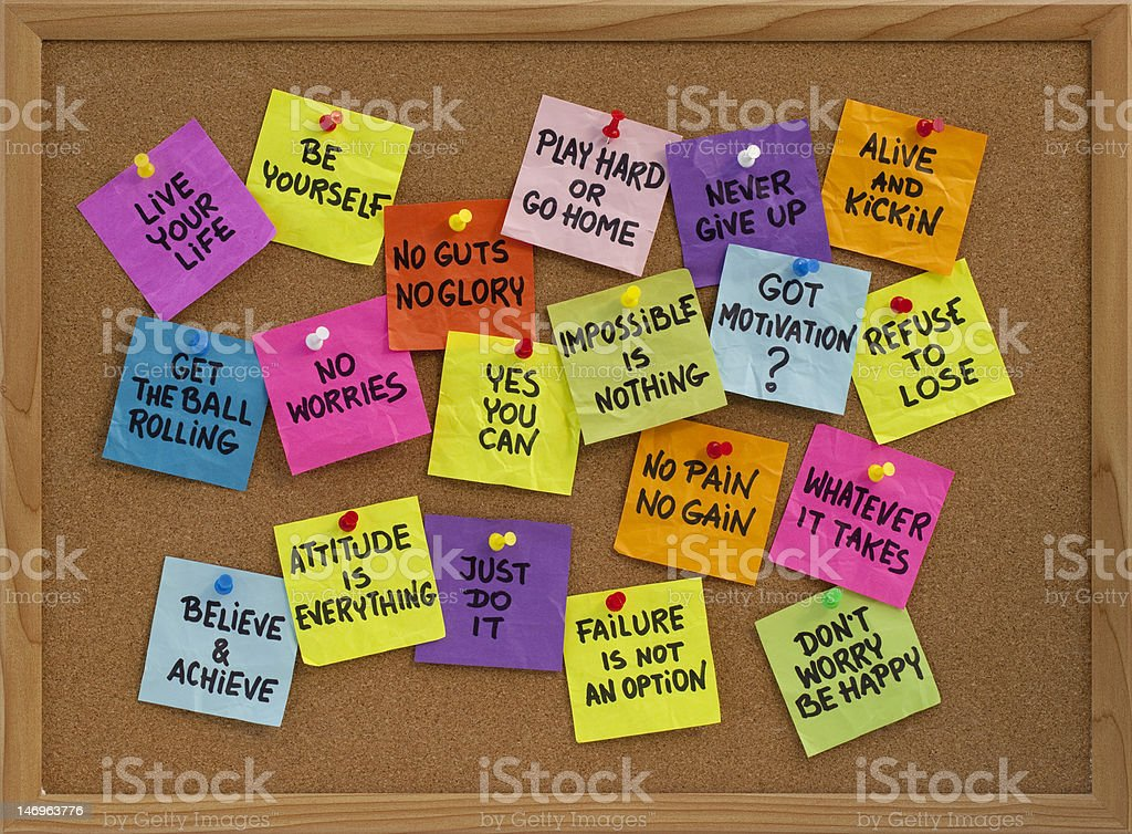 motivational reminders on bulletin board royalty-free stock photo