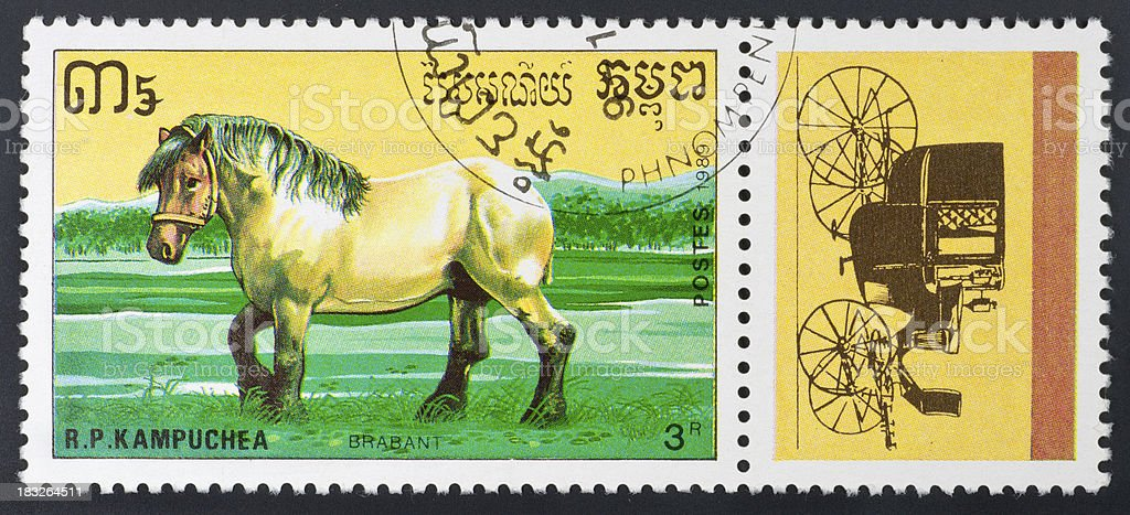 motive stamp Kampuchea - draft horses Brabant stock photo