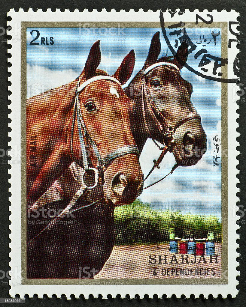 Motive stamp two horse heads - Sharjah arab emirates stock photo