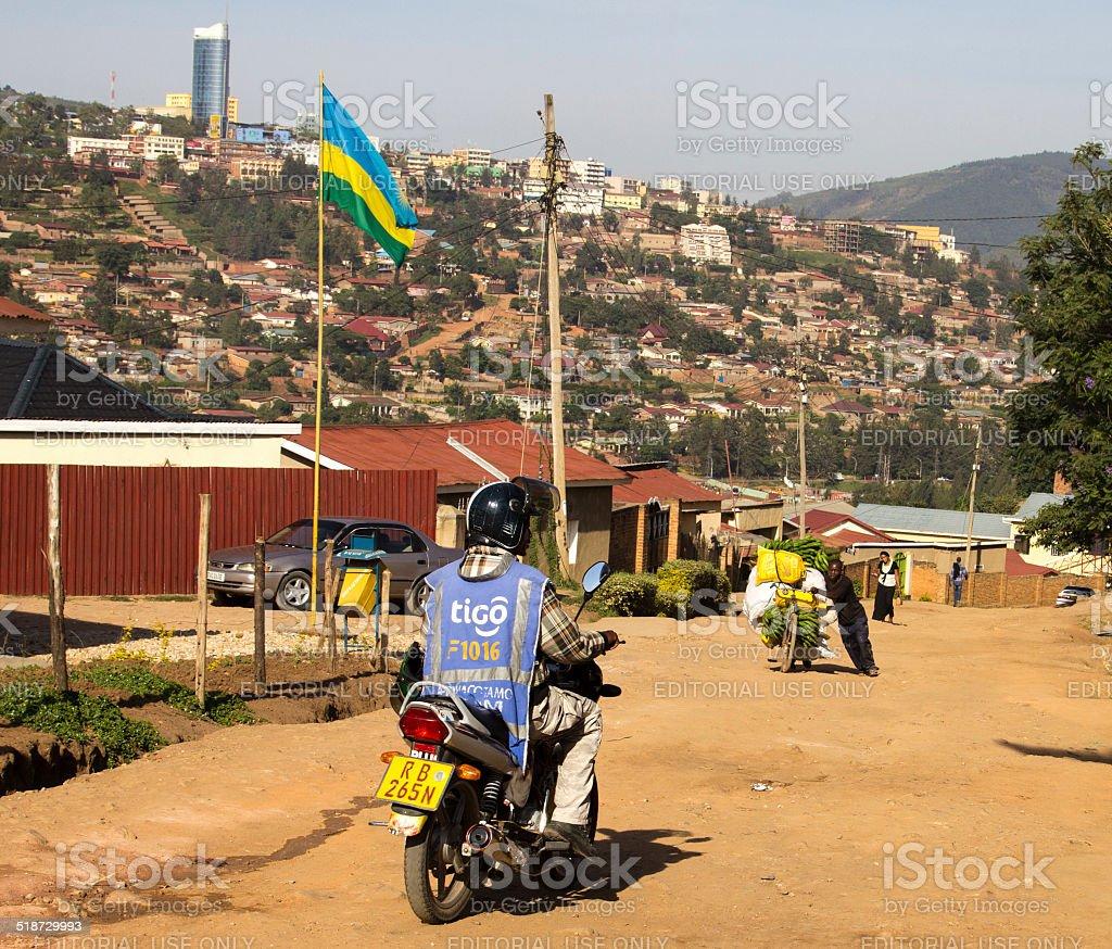moto taxi driver in Kigali stock photo
